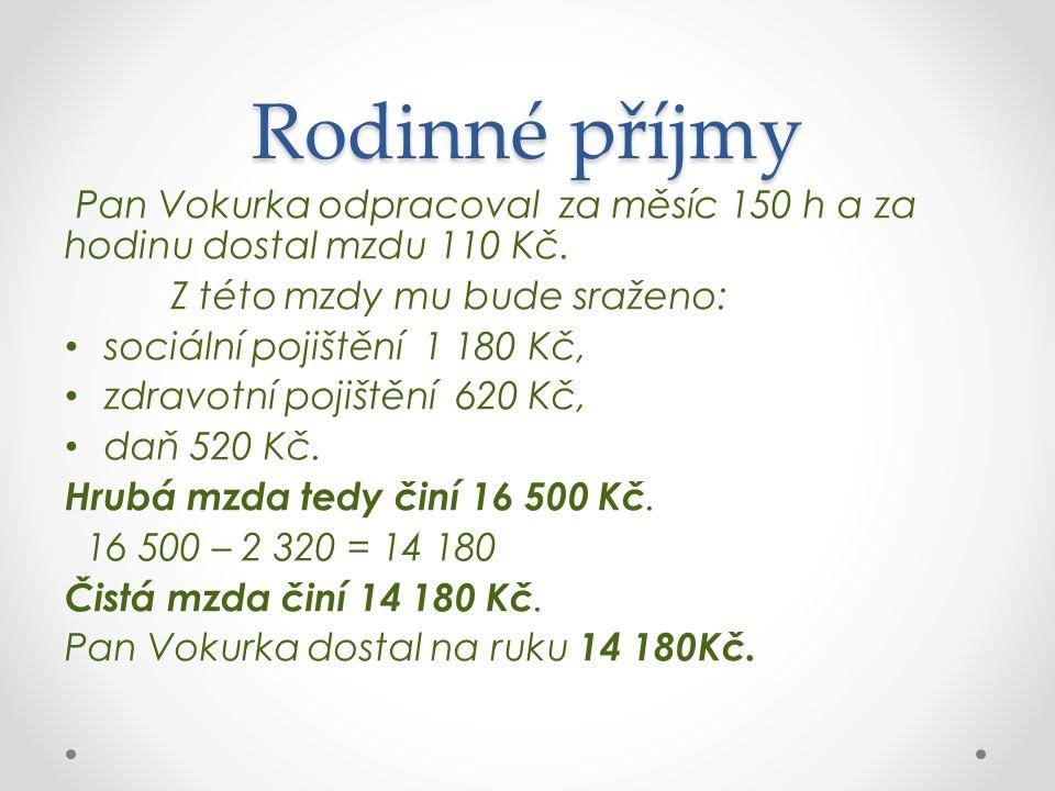 Rodinné příjmy Pan Vokurka odpracoval za měsíc 150 h a za hodinu dostal mzdu 110 Kč.