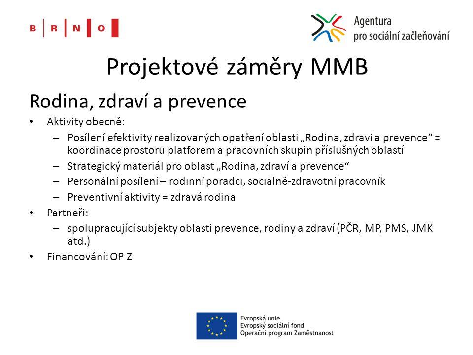 """Projektové záměry MMB Rodina, zdraví a prevence Aktivity obecně: – Posílení efektivity realizovaných opatření oblasti """"Rodina, zdraví a prevence"""" = ko"""
