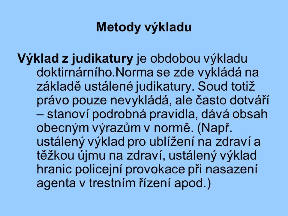 Metody výkladu Výklad z judikatury je obdobou výkladu doktirnárního.Norma se zde vykládá na základě ustálené judikatury.