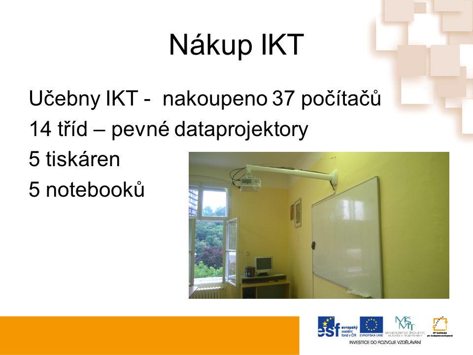 Nákup IKT Učebny IKT - nakoupeno 37 počítačů 14 tříd – pevné dataprojektory 5 tiskáren 5 notebooků