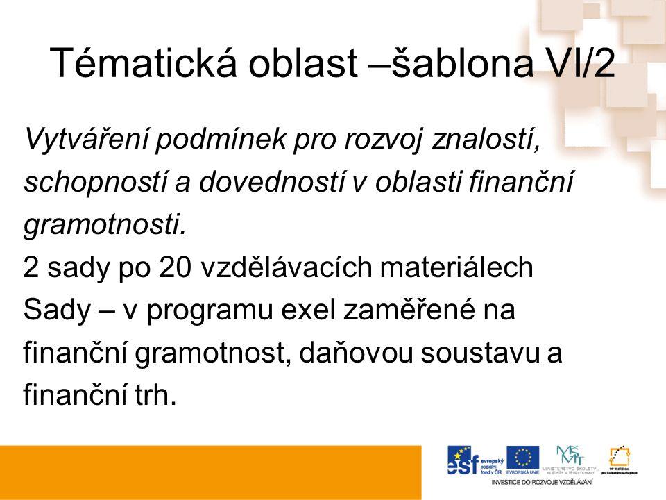 Tématická oblast –šablona VI/2 Vytváření podmínek pro rozvoj znalostí, schopností a dovedností v oblasti finanční gramotnosti.