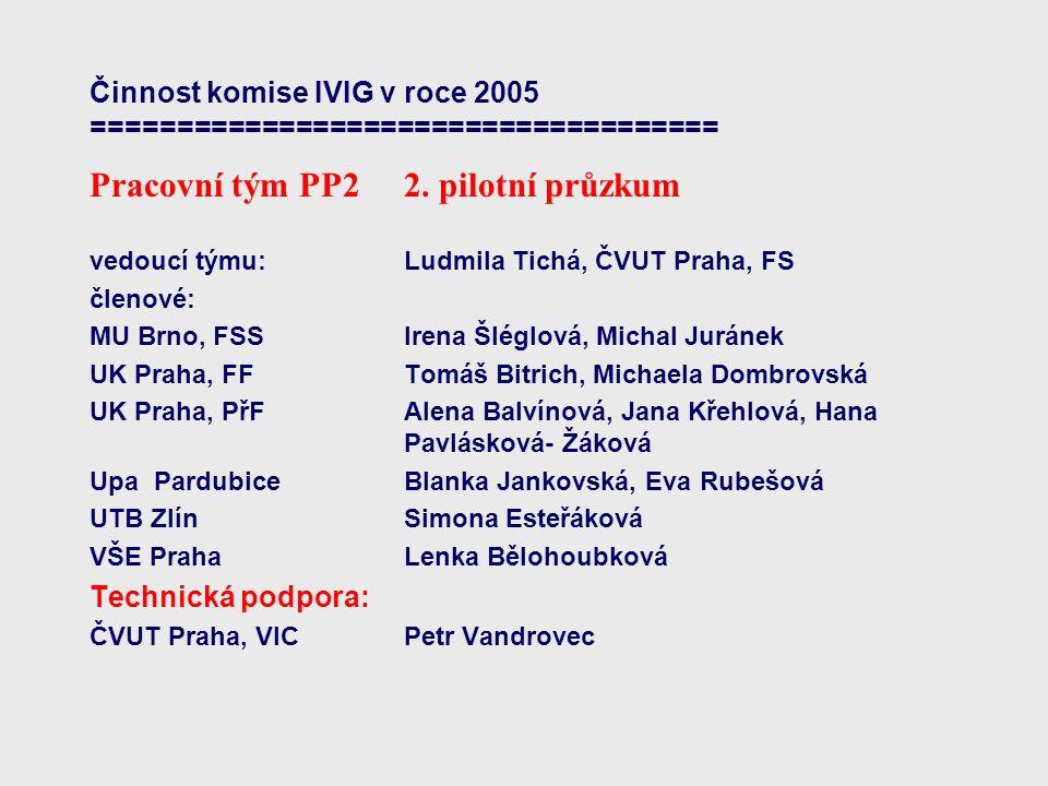 Činnost komise IVIG v roce 2005 ===================================== Pracovní tým PP2 2.
