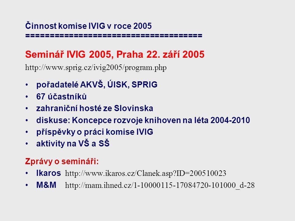 Činnost komise IVIG v roce 2005 ===================================== Sledování grantových příležitostí pracovní tým PT2 vedoucí týmu:Petr Očko, UK Praha, FF, ÚISK členové: Zdena Kloučková, STK, Milan Špála, UK Praha, LF1, Ludmila Tichá, ČVUT Praha, FS příspěvek na semináři IVIG http://www.sprig.cz/ivig2005/prezentace/Ocko-Grantove_prilezitosti.ppt informace zástupců MK ČR a MŠMT ČR na semináři IVIG