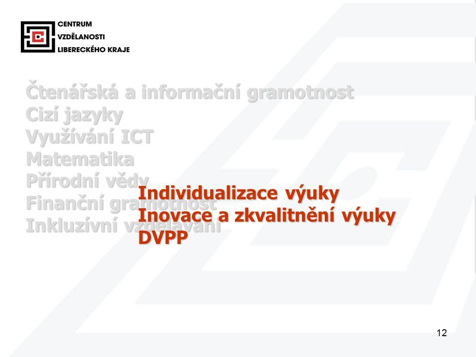 12 Čtenářská a informační gramotnost Cizí jazyky Využívání ICT Matematika Přírodní vědy Finanční gramotnost Inkluzívní vzdělávání Individualizace výuky Inovace a zkvalitnění výuky DVPP