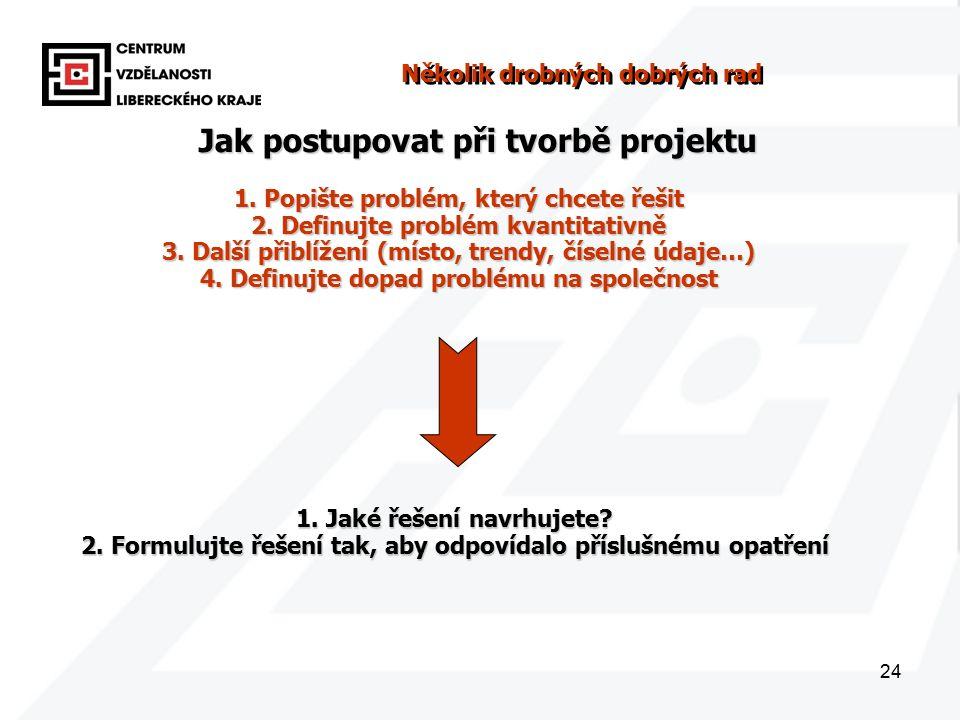 24 Několik drobných dobrých rad 1. Popište problém, který chcete řešit 2.