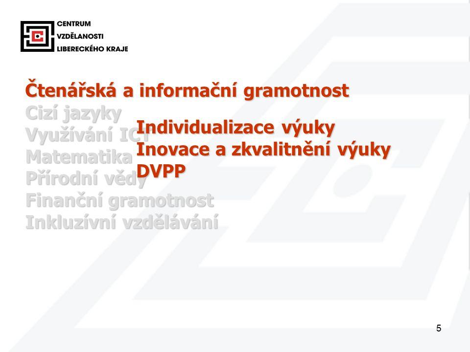 5 Čtenářská a informační gramotnost Cizí jazyky Využívání ICT Matematika Přírodní vědy Finanční gramotnost Inkluzívní vzdělávání Individualizace výuky Inovace a zkvalitnění výuky DVPP