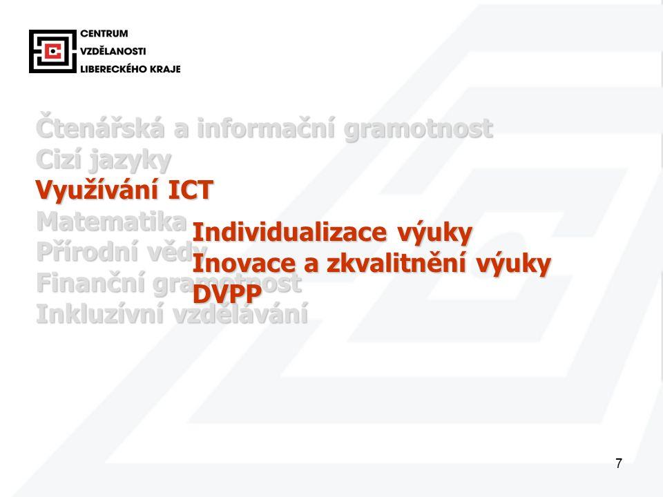 7 Čtenářská a informační gramotnost Cizí jazyky Využívání ICT Matematika Přírodní vědy Finanční gramotnost Inkluzívní vzdělávání Individualizace výuky Inovace a zkvalitnění výuky DVPP