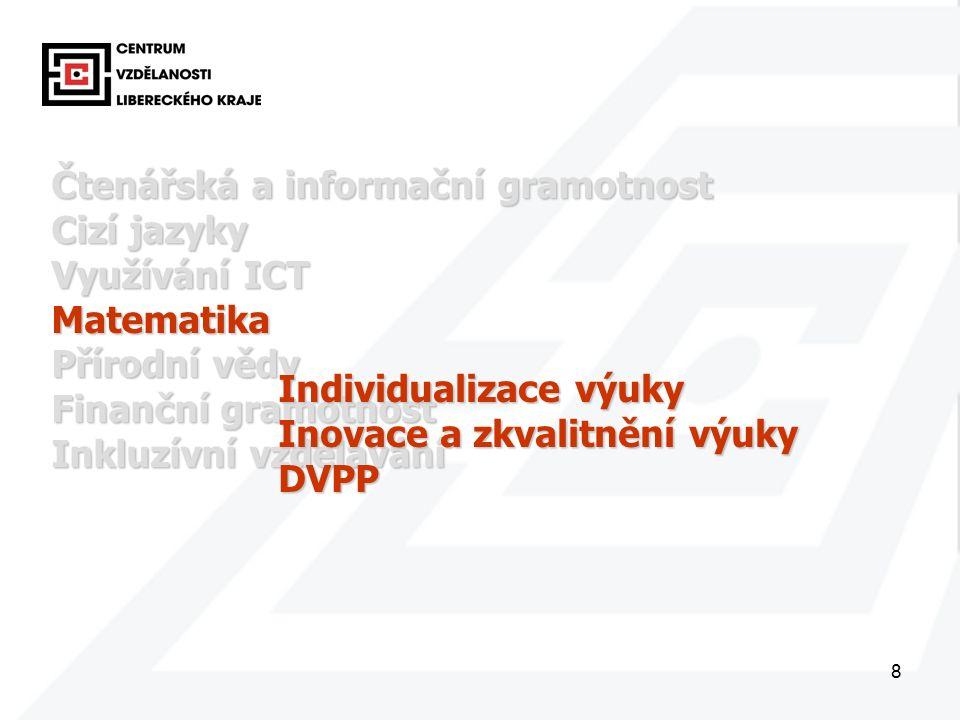 8 Čtenářská a informační gramotnost Cizí jazyky Využívání ICT Matematika Přírodní vědy Finanční gramotnost Inkluzívní vzdělávání Individualizace výuky Inovace a zkvalitnění výuky DVPP