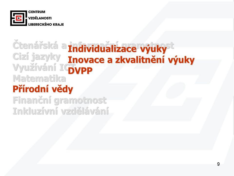 9 Čtenářská a informační gramotnost Cizí jazyky Využívání ICT Matematika Přírodní vědy Finanční gramotnost Inkluzívní vzdělávání Individualizace výuky Inovace a zkvalitnění výuky DVPP