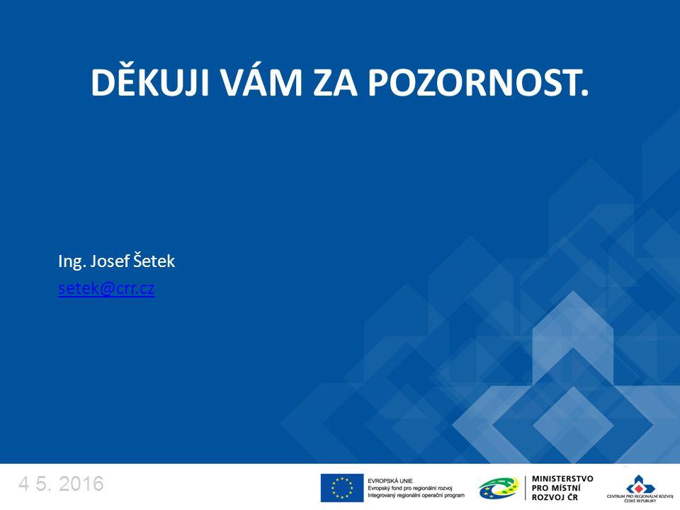 DĚKUJI VÁM ZA POZORNOST. Ing. Josef Šetek setek@crr.cz 4 5. 2016