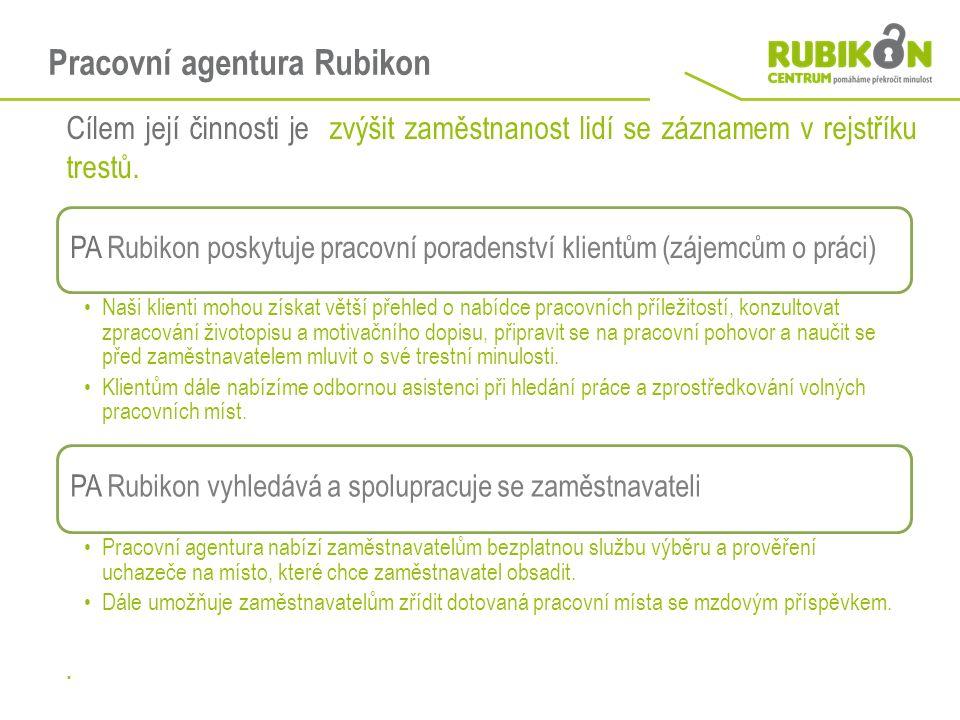 Pracovní agentura Rubikon Cílem její činnosti je zvýšit zaměstnanost lidí se záznamem v rejstříku trestů.. PA Rubikon poskytuje pracovní poradenství k