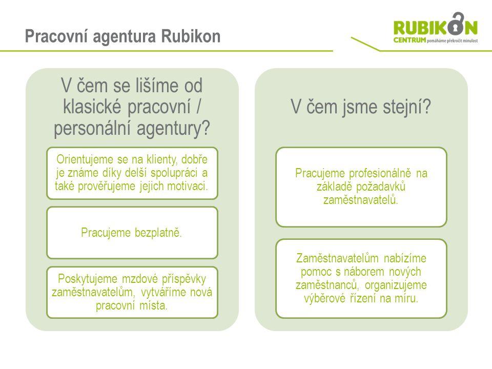 Pracovní agentura Rubikon V čem se lišíme od klasické pracovní / personální agentury? Orientujeme se na klienty, dobře je známe díky delší spolupráci