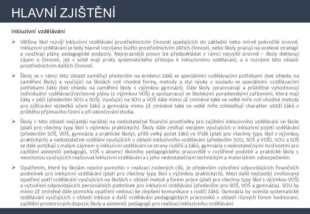 HLAVNÍ ZJIŠTĚNÍ Infrastruktura (investiční část)  V Karlovarském kraji má zájem o čerpání z vyhrazených finančních prostředků 86 % škol – ve srovnání s celorepublikovým výsledkem (v ČR deklaruje zájem o čerpání 77 %) je tedy zájem o čerpání nadprůměrný, a to i přesto, že důležitost rozvoje infrastruktury není ve srovnání s ostatními kraji příliš vysoká.