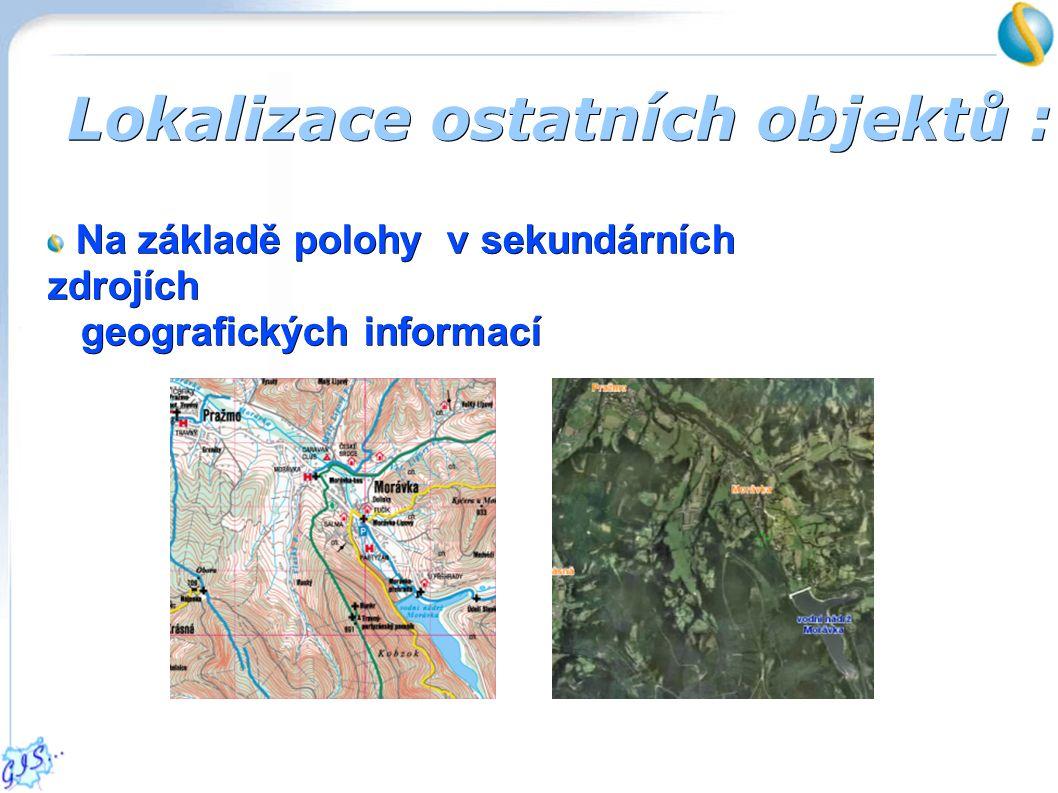 Lokalizace ostatních objektů : Na základě polohy v sekundárních zdrojích geografických informací