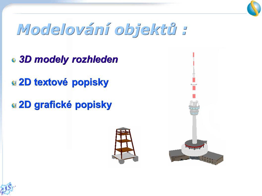 Modelování objektů : 3D modely rozhleden 2D textové popisky 2D textové popisky 2D grafické popisky 2D grafické popisky