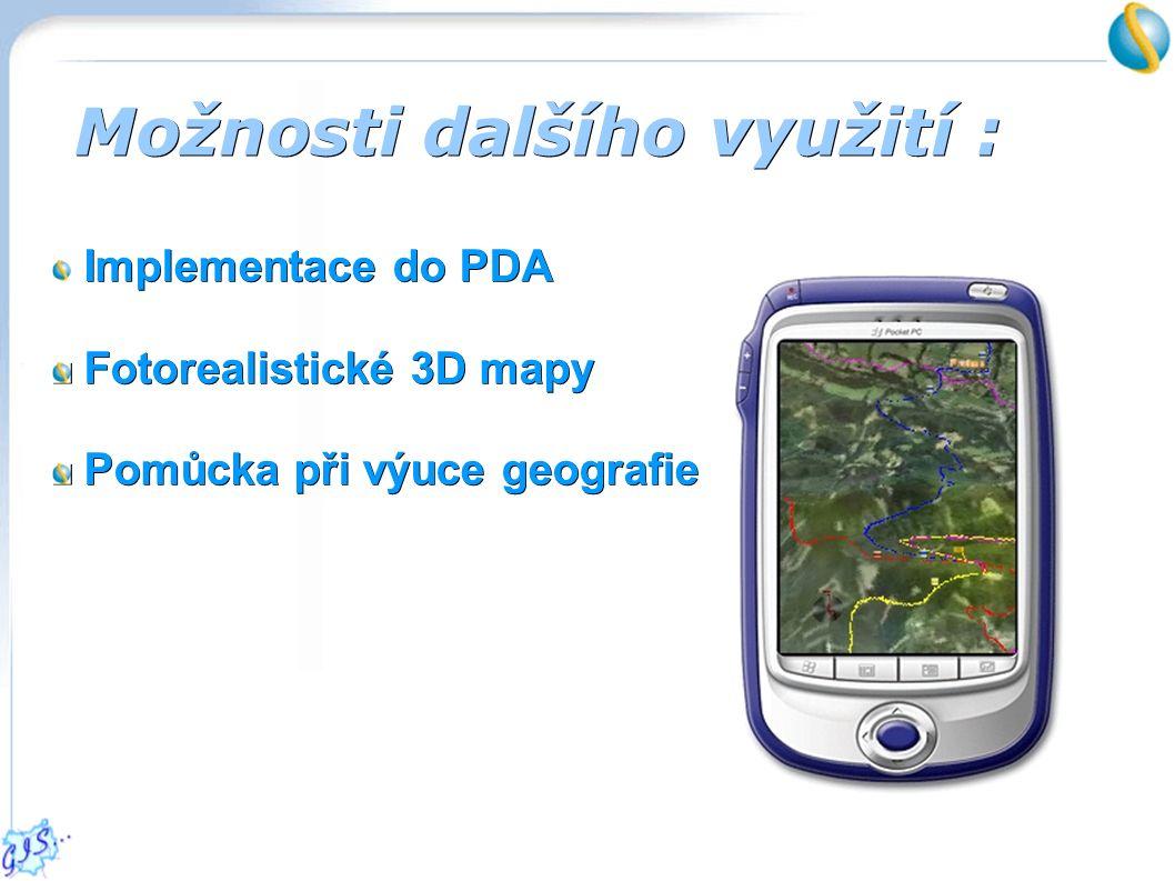 Možnosti dalšího využití : Implementace do PDA Implementace do PDA Fotorealistické 3D mapy Fotorealistické 3D mapy Pomůcka při výuce geografie Pomůcka při výuce geografie