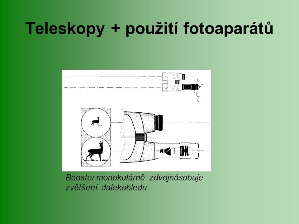 Teleskopy + použití fotoaparátů Booster monokulárně zdvojnásobuje zvětšení dalekohledu