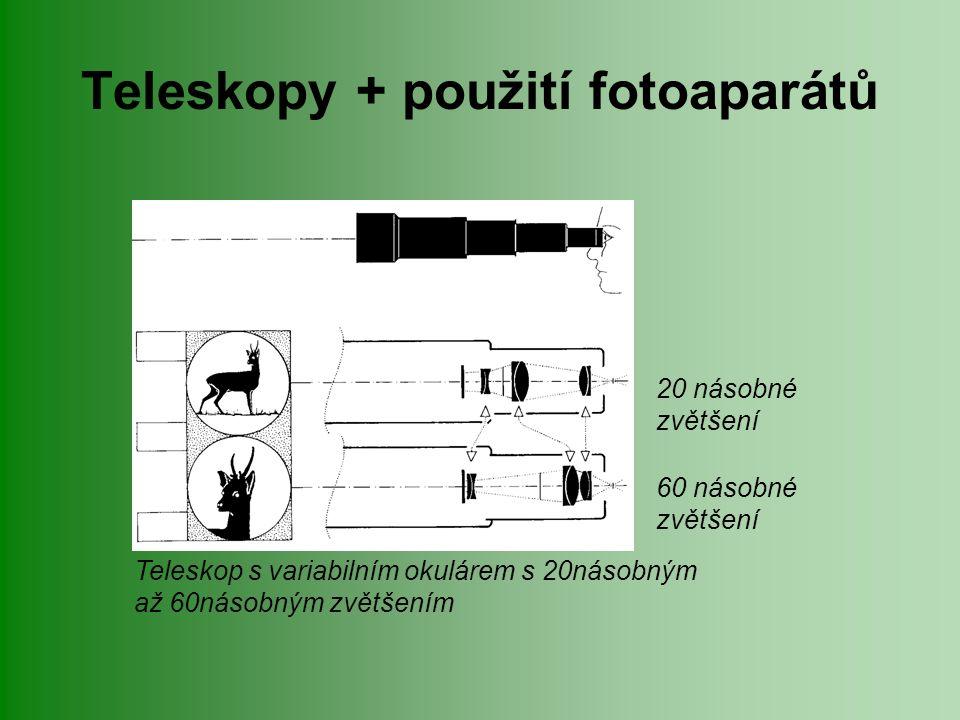 Teleskopy + použití fotoaparátů Teleskop s variabilním okulárem s 20násobným až 60násobným zvětšením 20 násobné zvětšení 60 násobné zvětšení