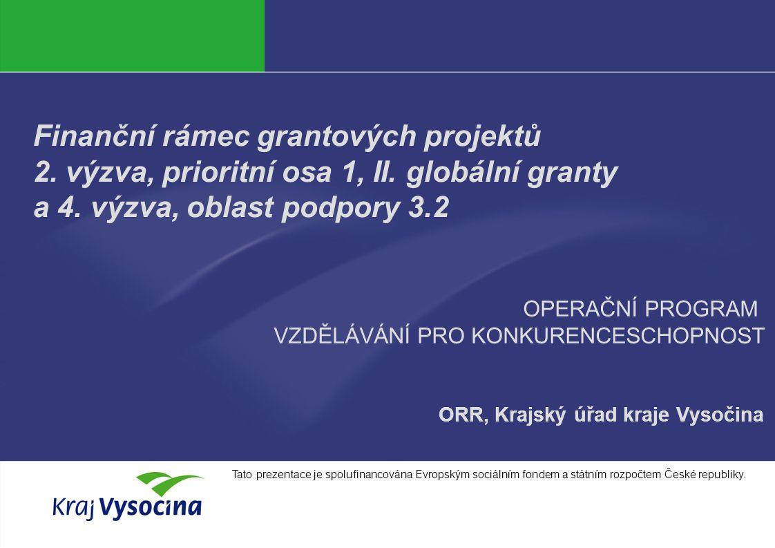 Markéta Lisová Finanční rámec grantových projektů 2. výzva, prioritní osa 1, II. globální granty a 4. výzva, oblast podpory 3.2 ORR, Krajský úřad kraj