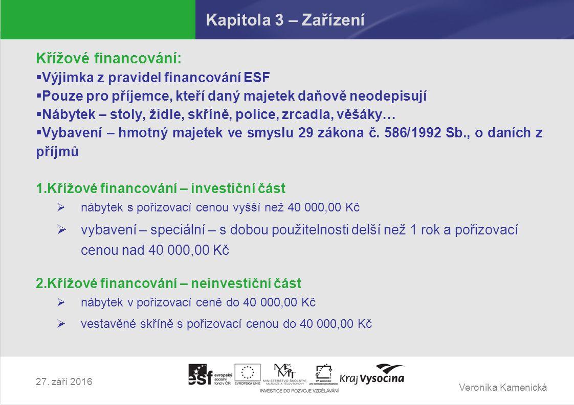 Veronika Kamenická 27. září 2016 Kapitola 3 – Zařízení Křížové financování:  Výjimka z pravidel financování ESF  Pouze pro příjemce, kteří daný maje