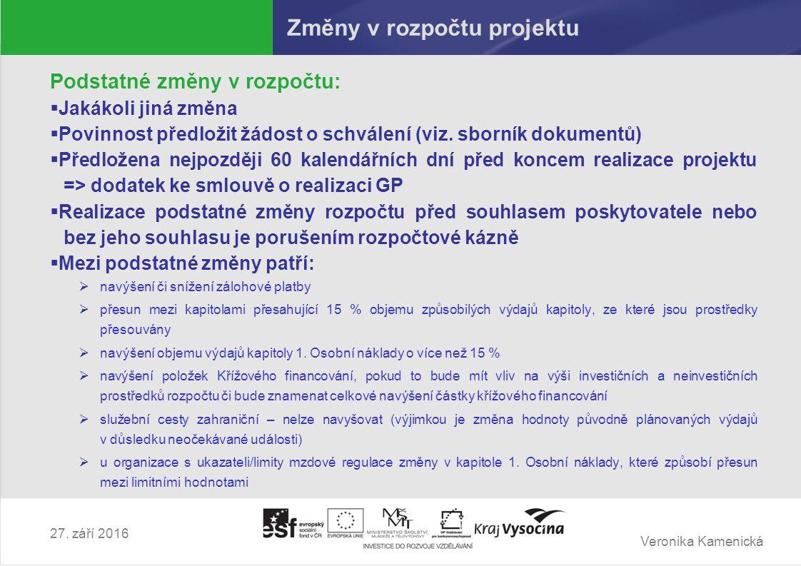 Veronika Kamenická 27. září 2016 Změny v rozpočtu projektu Podstatné změny v rozpočtu:  Jakákoli jiná změna  Povinnost předložit žádost o schválení