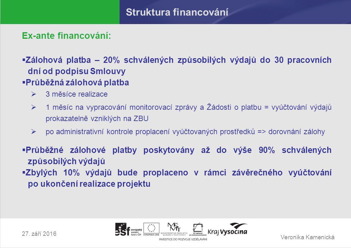 Veronika Kamenická 27. září 2016 Struktura financování Ex-ante financování:  Zálohová platba – 20% schválených způsobilých výdajů do 30 pracovních dn