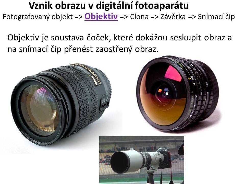 Vznik obrazu v digitální fotoaparátu Fotografovaný objekt => Objektiv => Clona => Závěrka => Snímací čip Objektiv je soustava čoček, které dokážou seskupit obraz a na snímací čip přenést zaostřený obraz.