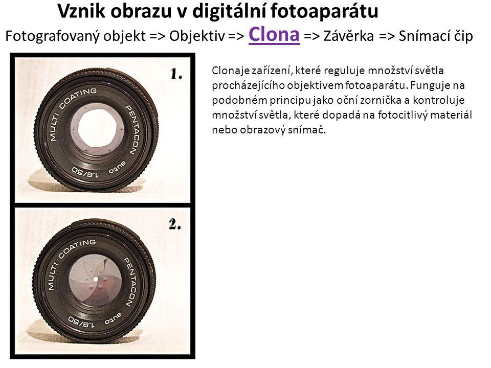 Vznik obrazu v digitální fotoaparátu Fotografovaný objekt => Objektiv => Clona => Závěrka => Snímací čip Clonaje zařízení, které reguluje množství svě