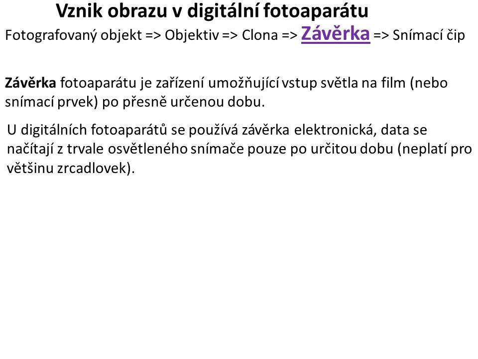 Vznik obrazu v digitální fotoaparátu Fotografovaný objekt => Objektiv => Clona => Závěrka => Snímací čip Závěrka fotoaparátu je zařízení umožňující vstup světla na film (nebo snímací prvek) po přesně určenou dobu.