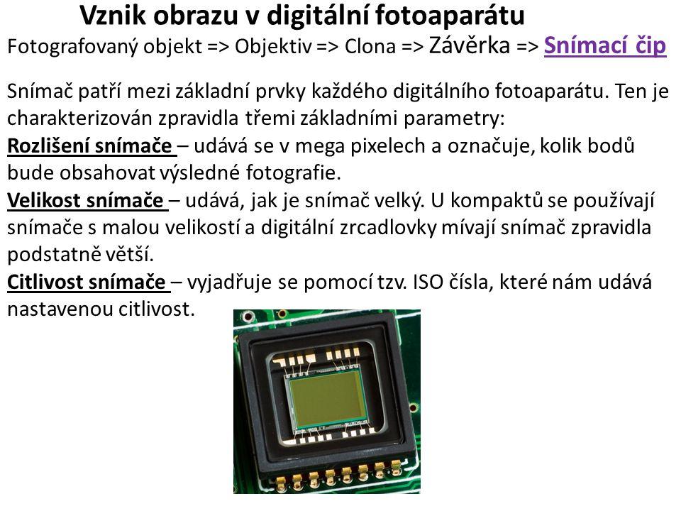 Vznik obrazu v digitální fotoaparátu Fotografovaný objekt => Objektiv => Clona => Závěrka => Snímací čip Snímač patří mezi základní prvky každého digi