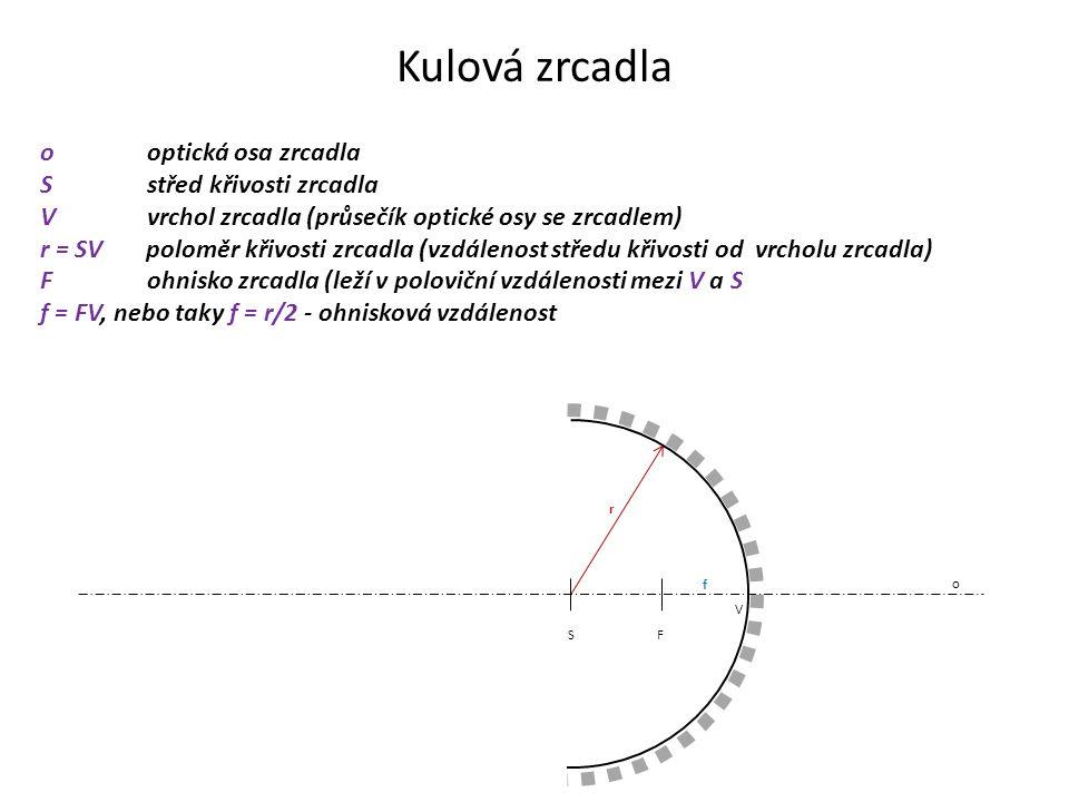 ooptická osa zrcadla Sstřed křivosti zrcadla Vvrchol zrcadla (průsečík optické osy se zrcadlem) r = SV poloměr křivosti zrcadla (vzdálenost středu křivosti od vrcholu zrcadla) Fohnisko zrcadla (leží v poloviční vzdálenosti mezi V a S f = FV, nebo taky f = r/2 - ohnisková vzdálenost F S V o r f Kulová zrcadla