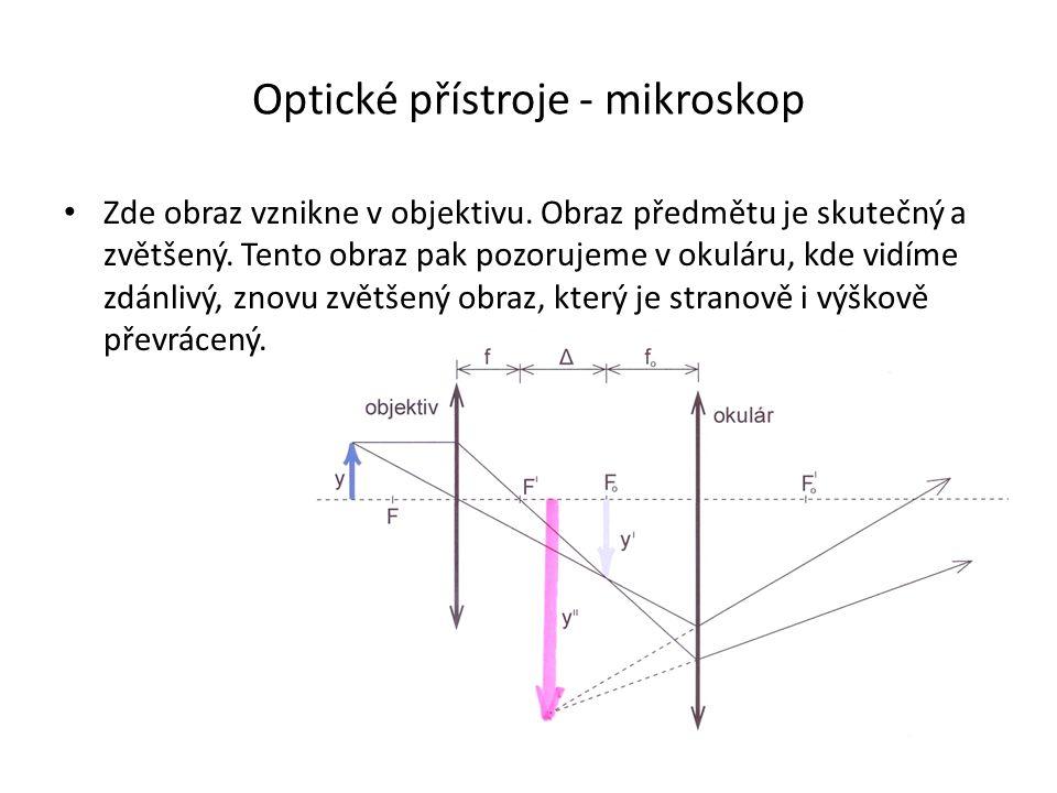 Optické přístroje - mikroskop Zde obraz vznikne v objektivu.