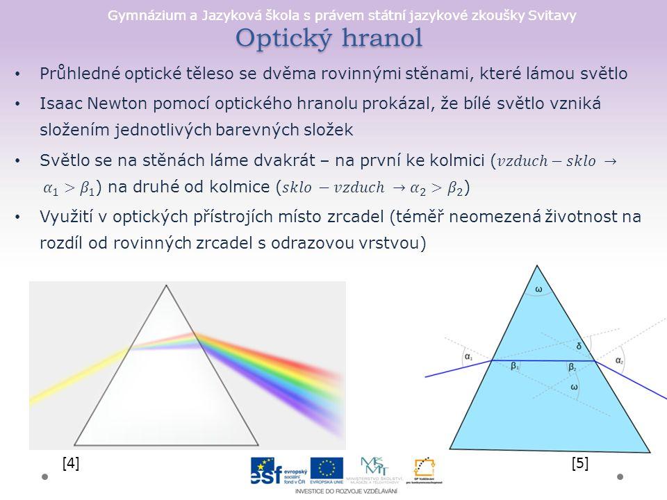 Gymnázium a Jazyková škola s právem státní jazykové zkoušky Svitavy Optický hranol [4][5]