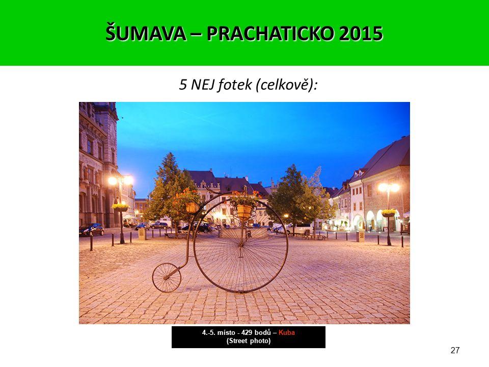 26 5 NEJ fotek (celkově): 4.-5. místo - 429 bodů – Zbyněk (Noční architektura) ŠUMAVA – PRACHATICKO 2015