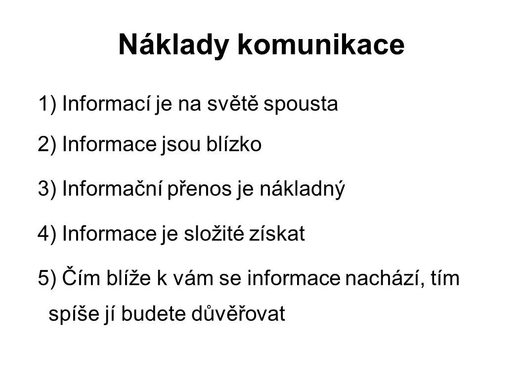 Náklady komunikace 1) Informací je na světě spousta 2) Informace jsou blízko 3) Informační přenos je nákladný 4) Informace je složité získat 5) Čím bl