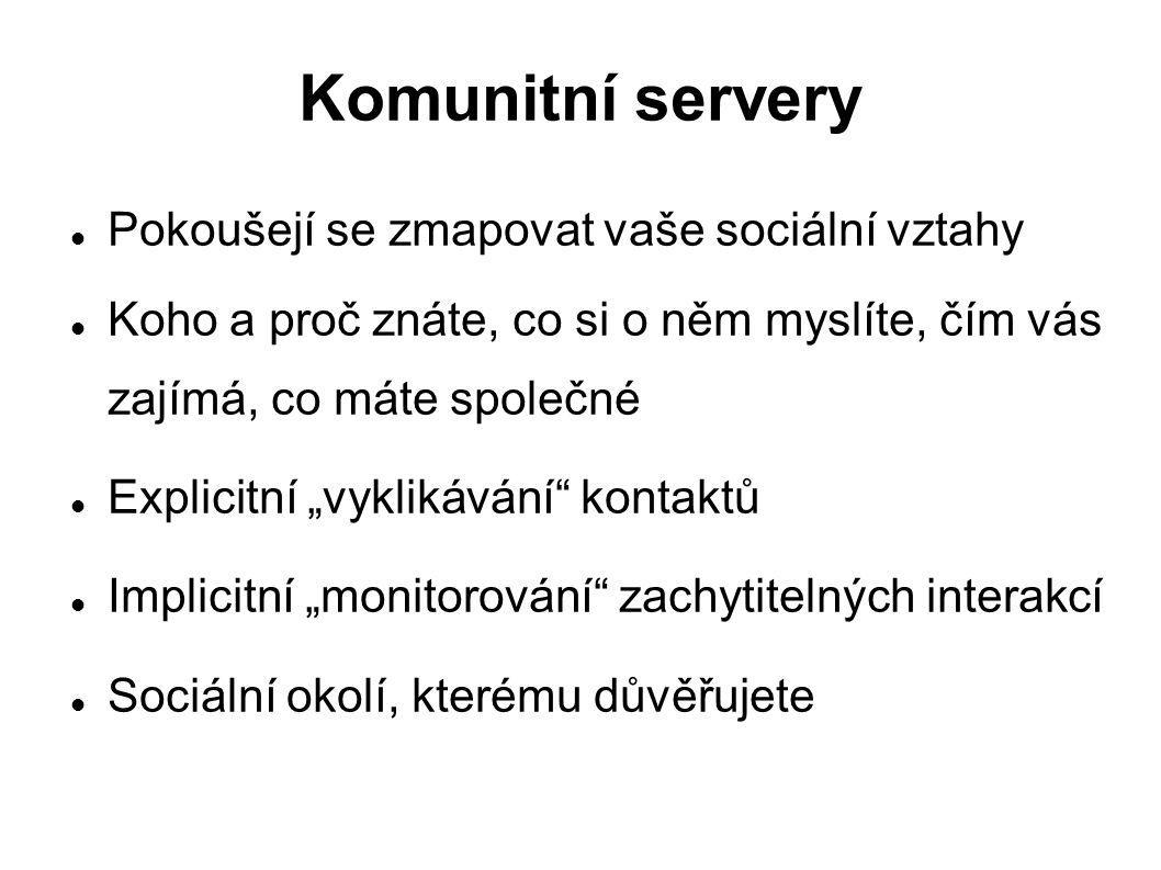 """Komunitní servery Pokoušejí se zmapovat vaše sociální vztahy Koho a proč znáte, co si o něm myslíte, čím vás zajímá, co máte společné Explicitní """"vykl"""
