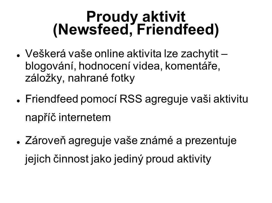 Proudy aktivit (Newsfeed, Friendfeed) Veškerá vaše online aktivita lze zachytit – blogování, hodnocení videa, komentáře, záložky, nahrané fotky Frien