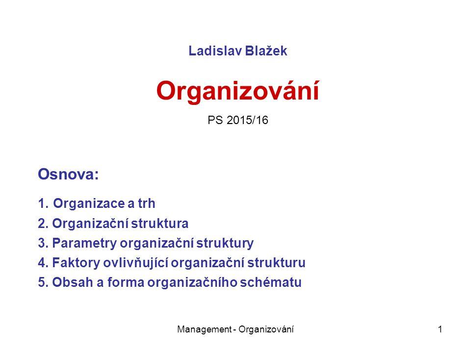 Management - Organizování1 Ladislav Blažek Organizování PS 2015/16 Osnova: 1.
