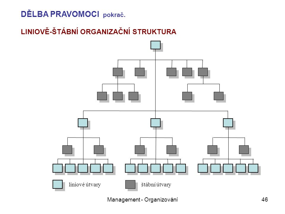 Management - Organizování46 liniové útvary štábní útvary LINIOVĚ-ŠTÁBNÍ ORGANIZAČNÍ STRUKTURA DĚLBA PRAVOMOCI pokrač.
