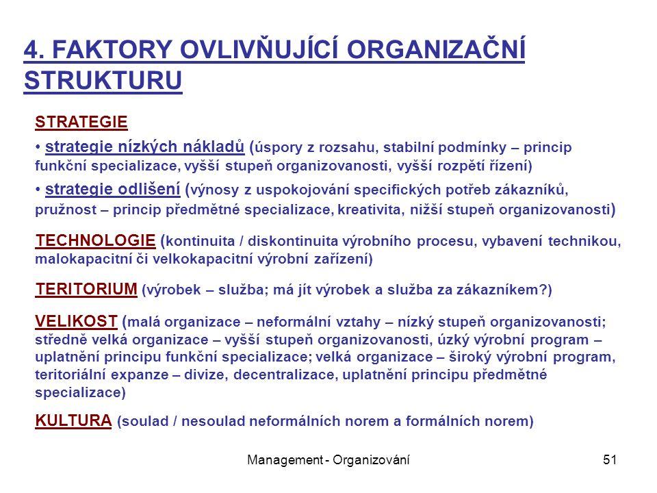 Management - Organizování51 STRATEGIE strategie nízkých nákladů ( úspory z rozsahu, stabilní podmínky – princip funkční specializace, vyšší stupeň organizovanosti, vyšší rozpětí řízení) strategie odlišení ( výnosy z uspokojování specifických potřeb zákazníků, pružnost – princip předmětné specializace, kreativita, nižší stupeň organizovanosti ) TECHNOLOGIE ( kontinuita / diskontinuita výrobního procesu, vybavení technikou, malokapacitní či velkokapacitní výrobní zařízení) TERITORIUM (výrobek – služba; má jít výrobek a služba za zákazníkem ) VELIKOST ( malá organizace – neformální vztahy – nízký stupeň organizovanosti; středně velká organizace – vyšší stupeň organizovanosti, úzký výrobní program – uplatnění principu funkční specializace; velká organizace – široký výrobní program, teritoriální expanze – divize, decentralizace, uplatnění principu předmětné specializace) KULTURA (soulad / nesoulad neformálních norem a formálních norem) 4.