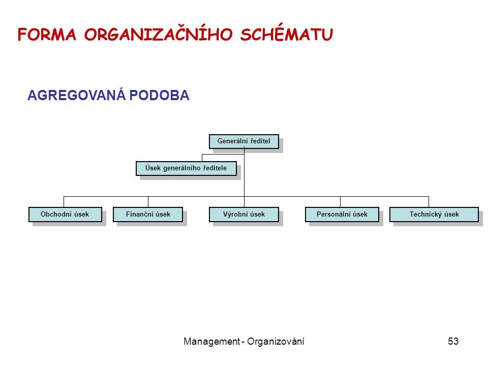 Management - Organizování53 Generální ředitel Obchodní úsek Finanční úsek Personální úsek Technický úsek Výrobní úsek Úsek generálního ředitele FORMA ORGANIZAČNÍHO SCHÉMATU AGREGOVANÁ PODOBA