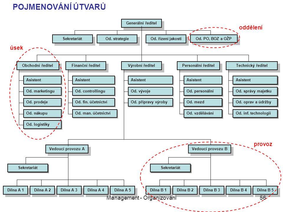 Management - Organizování56 Generální ředitel Vedoucí provozu A Dílna A 1 Dílna A 2 Dílna A 3 Dílna A 4 Dílna A 5 Obchodní ředitel Asistent Od.