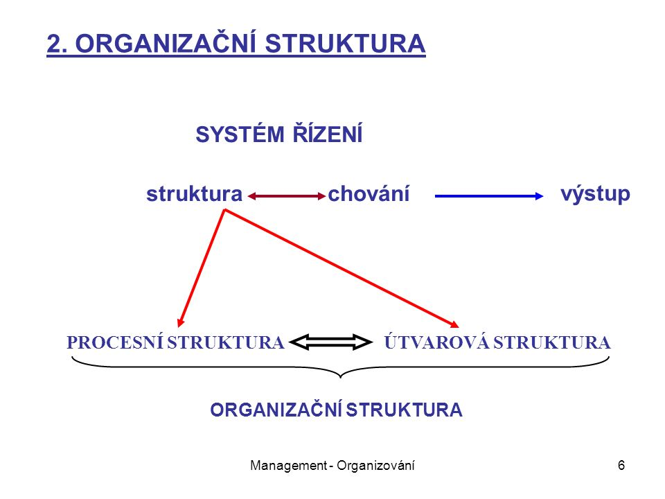Management - Organizování6 SYSTÉM ŘÍZENÍ struktura chování PROCESNÍ STRUKTURA ÚTVAROVÁ STRUKTURA 2.