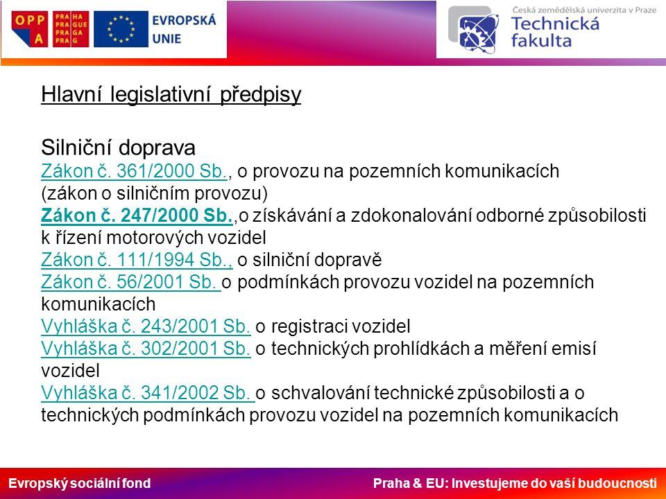 Evropský sociální fond Praha & EU: Investujeme do vaší budoucnosti Hlavní legislativní předpisy Silniční doprava Zákon č.