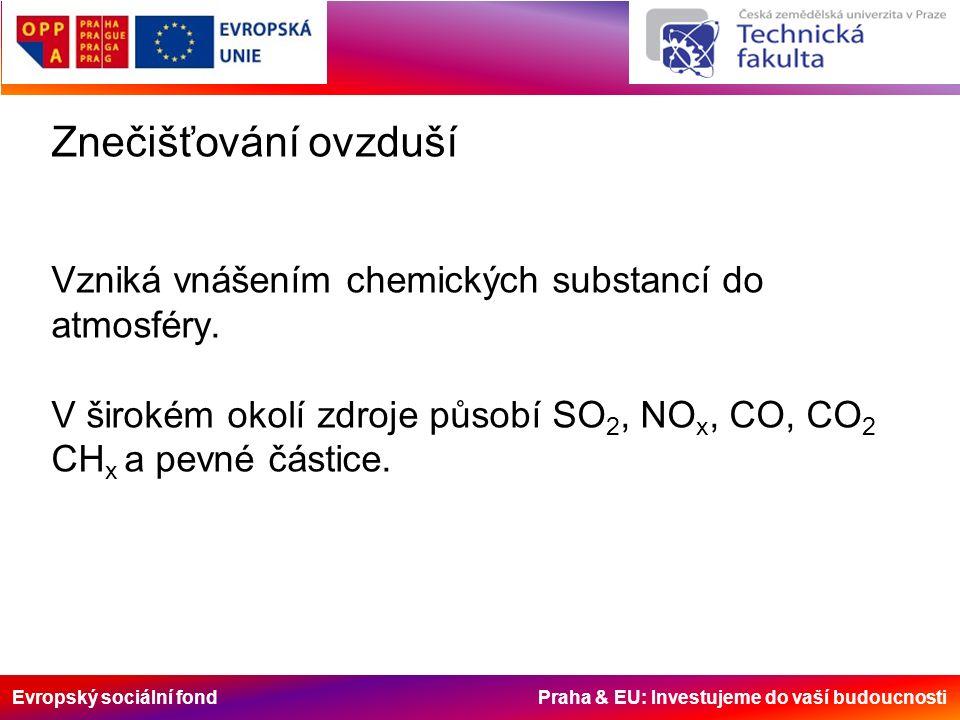 Evropský sociální fond Praha & EU: Investujeme do vaší budoucnosti Znečišťování ovzduší Vzniká vnášením chemických substancí do atmosféry.