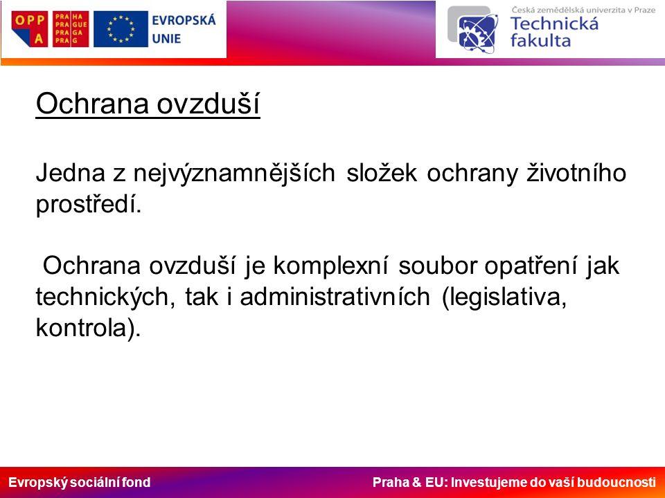 Evropský sociální fond Praha & EU: Investujeme do vaší budoucnosti Ochrana ovzduší Jedna z nejvýznamnějších složek ochrany životního prostředí.