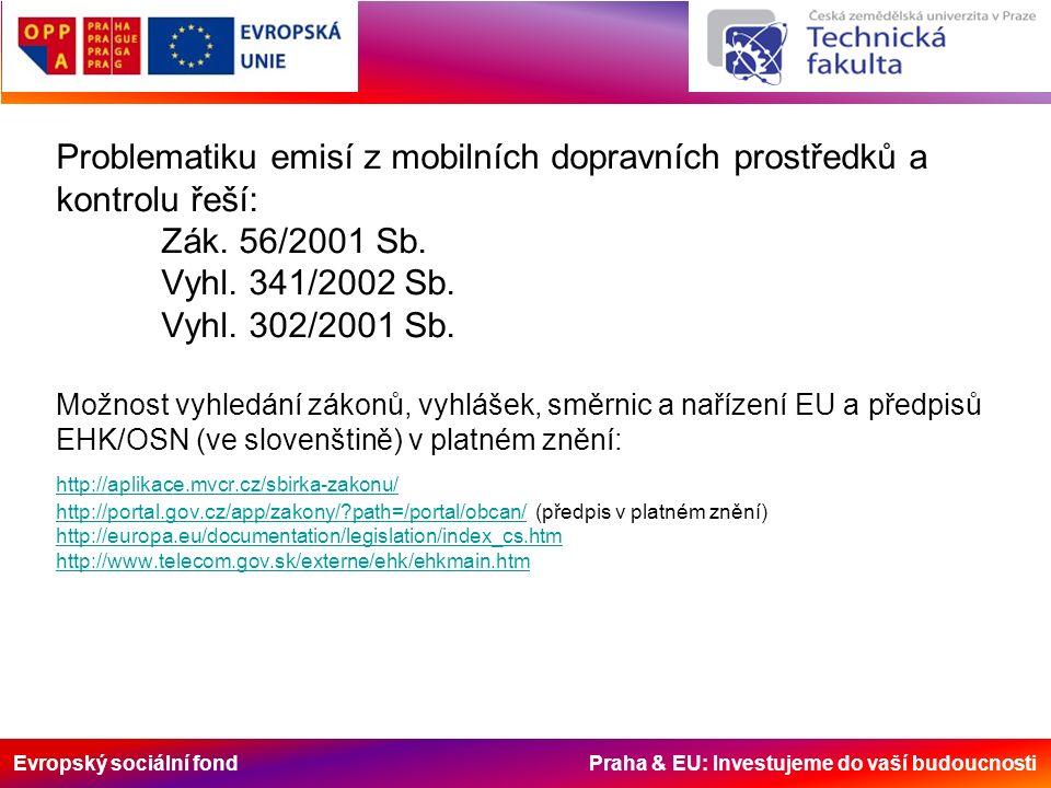 Evropský sociální fond Praha & EU: Investujeme do vaší budoucnosti Problematiku emisí z mobilních dopravních prostředků a kontrolu řeší: Zák.