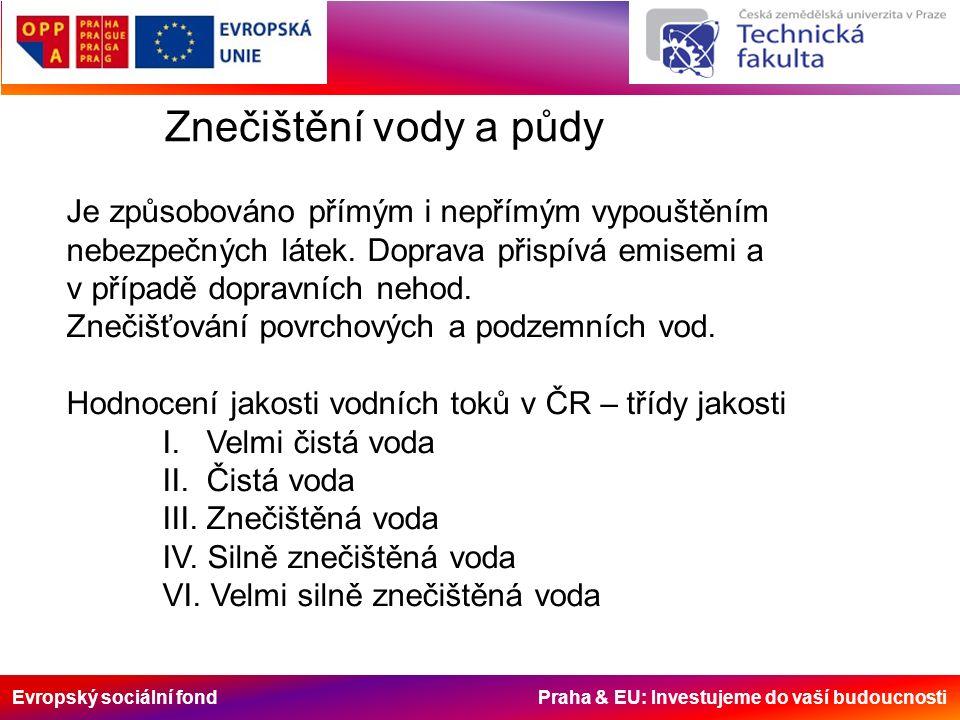 Evropský sociální fond Praha & EU: Investujeme do vaší budoucnosti Znečištění vody a půdy Je způsobováno přímým i nepřímým vypouštěním nebezpečných látek.