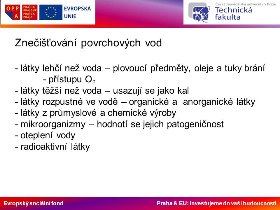Evropský sociální fond Praha & EU: Investujeme do vaší budoucnosti Znečišťování povrchových vod - látky lehčí než voda – plovoucí předměty, oleje a tuky brání - přístupu O 2 - látky těžší než voda – usazují se jako kal - látky rozpustné ve vodě – organické a anorganické látky - látky z průmyslové a chemické výroby - mikroorganizmy – hodnotí se jejich patogeničnost - oteplení vody - radioaktivní látky