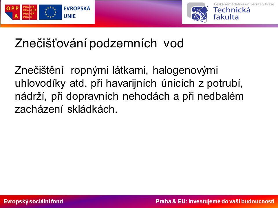 Evropský sociální fond Praha & EU: Investujeme do vaší budoucnosti Znečišťování podzemních vod Znečištění ropnými látkami, halogenovými uhlovodíky atd.